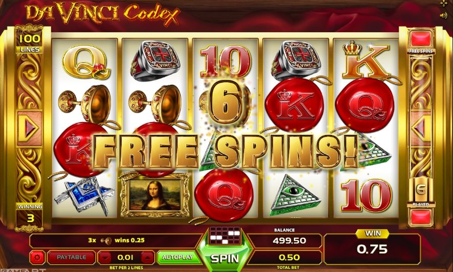 Φρουτάκι Da Vinci Codex free spins