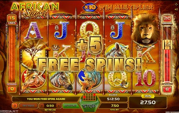 extra free spins of african sunset slot